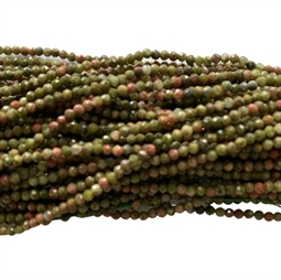 Unakite 2 mm facet, 1/1 streng