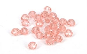 Rosa glasperler med facet, 4 x 3 mm<br><b>25 stk.</b>
