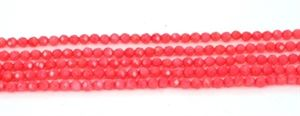 Koralperler, facet 4 mm, 1/1 streng
